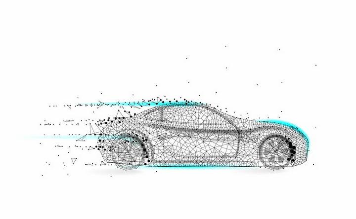 点线三角形组成的智能汽车电动汽车png图片免抠矢量素材 交通运输-第1张