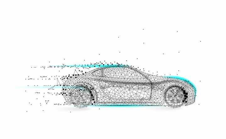 点线三角形组成的智能汽车电动汽车png图片免抠矢量素材