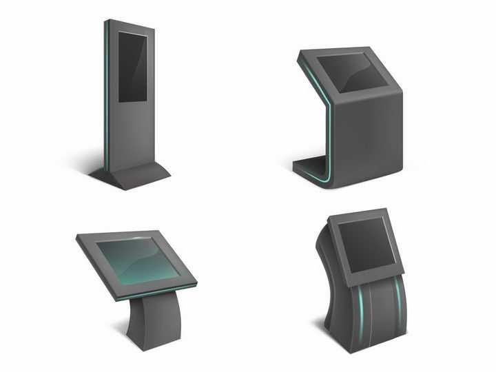 4款黑色的触摸一体机落地立式广告机png图片免抠矢量素材