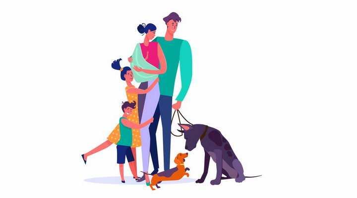 扁平插画一家四口和狗狗一起遛狗散步png图片免抠矢量素材