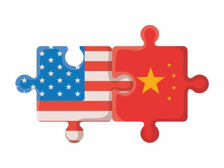 两个带有中国和美国国旗的拼图象征了中美贸易战png图片免抠素材