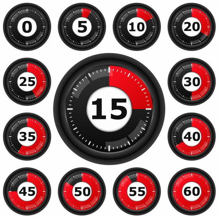 黑色表盘红色显示区域倒计时秒表png图片免抠矢量素材 生活素材-第1张