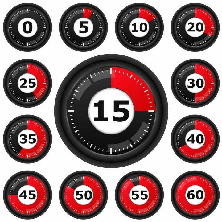 黑色表盘红色显示区域倒计时秒表png图片免抠矢量素材