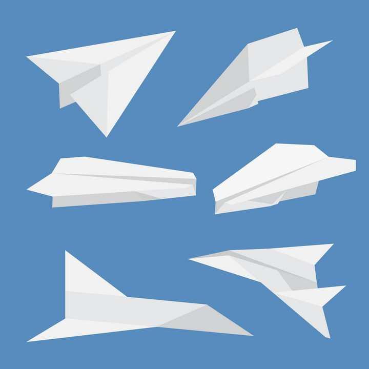 6款不同造型的白色折纸纸飞机png图片免抠矢量素材