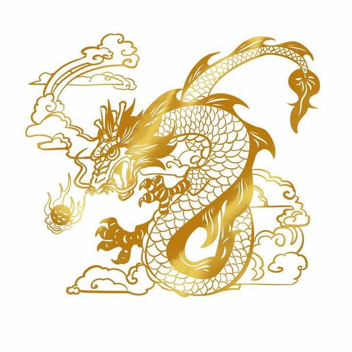 踩着祥云的金色中国龙图案png图片免抠素材
