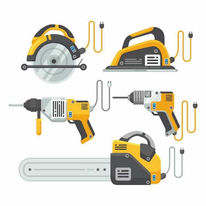 黄色的电锯电链锯伐木锯电钻等木工工具png图片免抠矢量素材