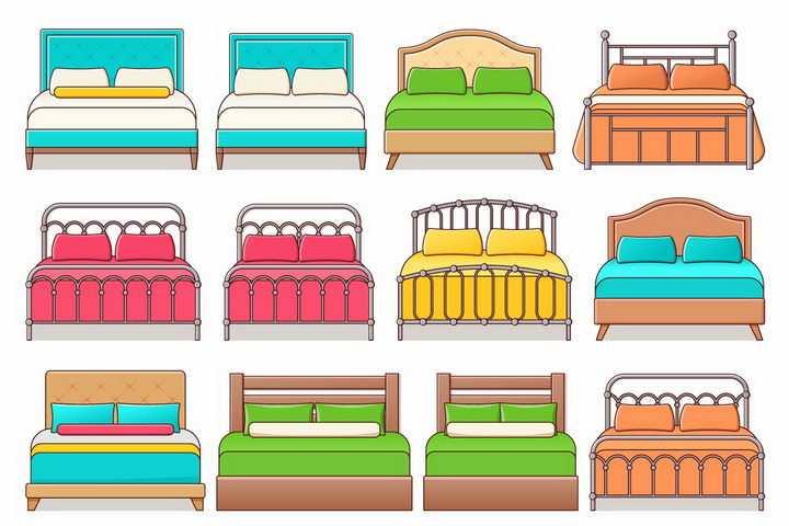 12款糖果色卡通大床双人床家具png图片免抠矢量素材
