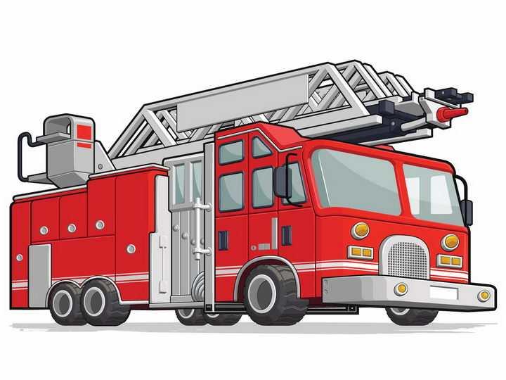 红色的消防车云梯车png图片免抠矢量素材