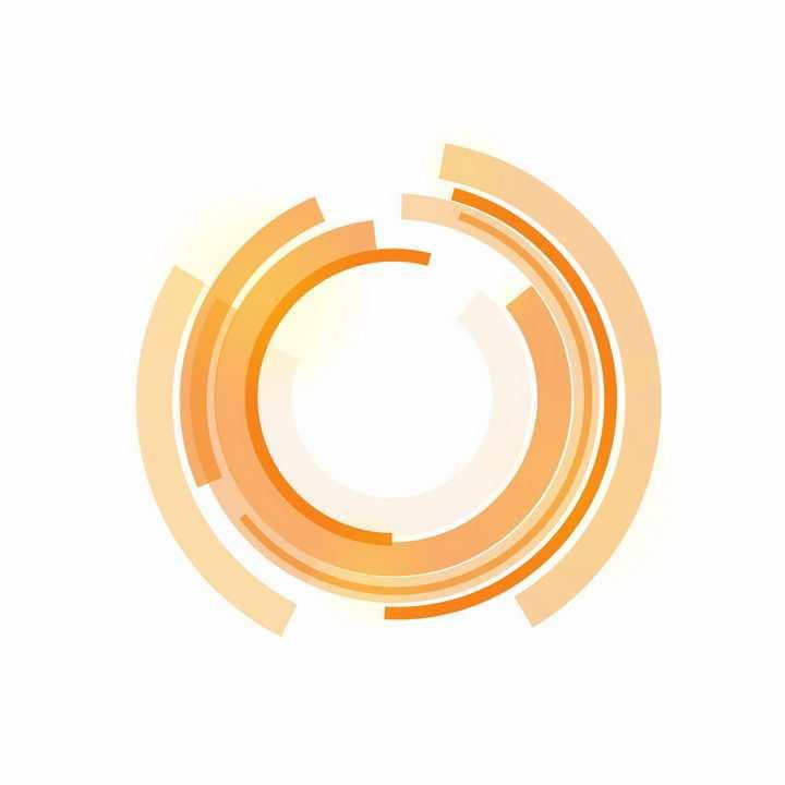 黄色科幻风格圆环装饰png图片免抠ai矢量素材