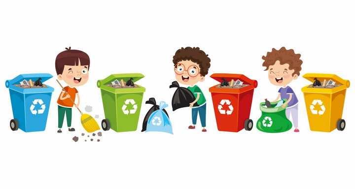 卡通男孩打扫卫生垃圾桶垃圾分类手抄报png图片免抠eps矢量素材