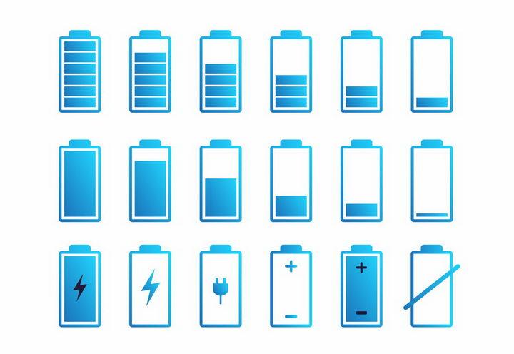 各种蓝色渐变色风格电池电量显示png图片免抠eps矢量素材 IT科技-第1张