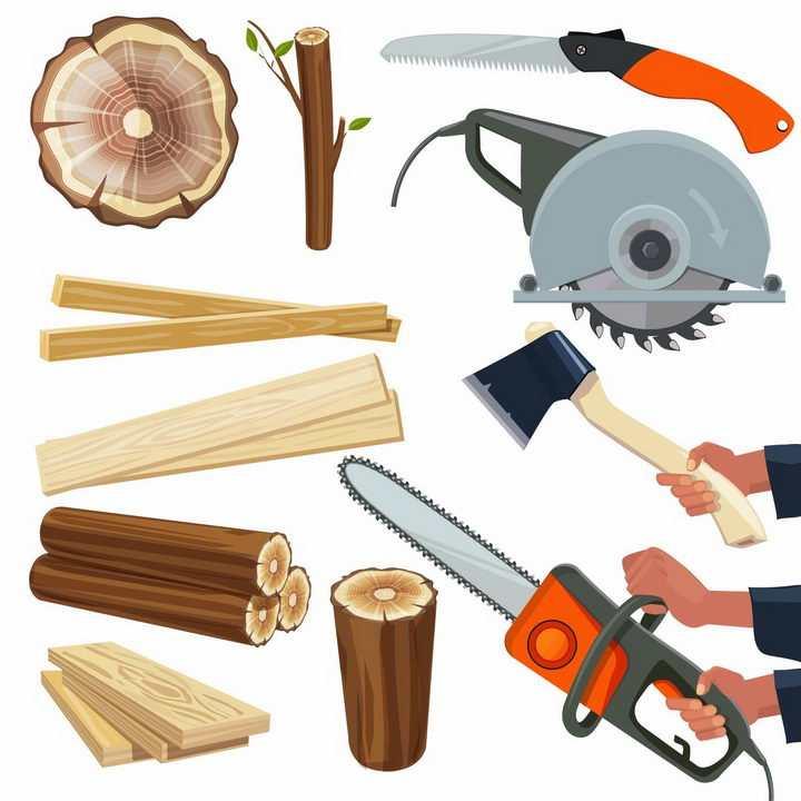 木桩木材年轮木板电锯电链锯伐木锯斧头等伐木工具png图片免抠矢量素材