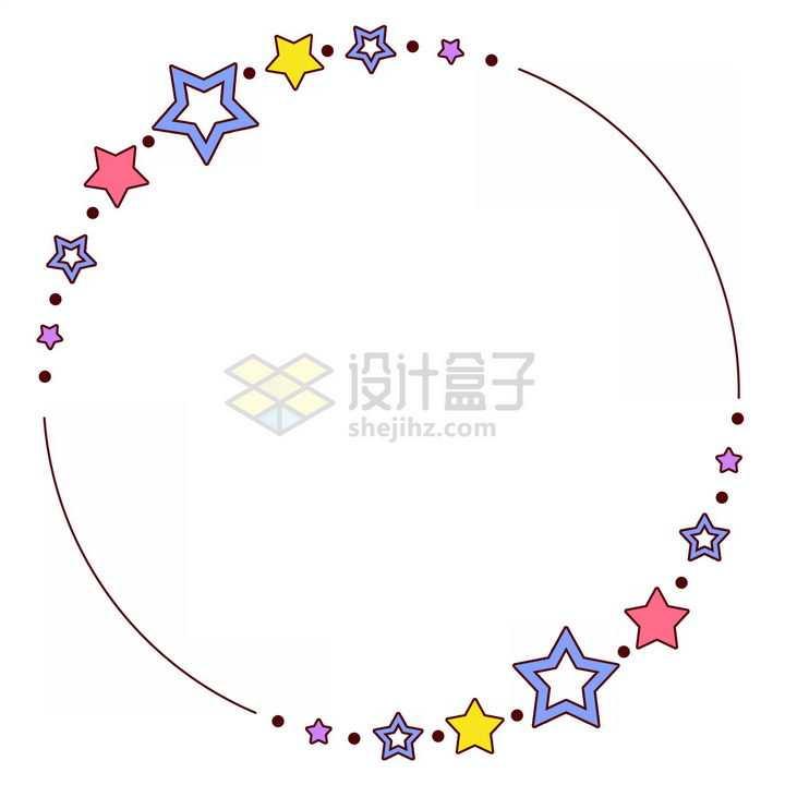 各种五角星图案围成一个圆圈文本框标题框png图片免抠素材