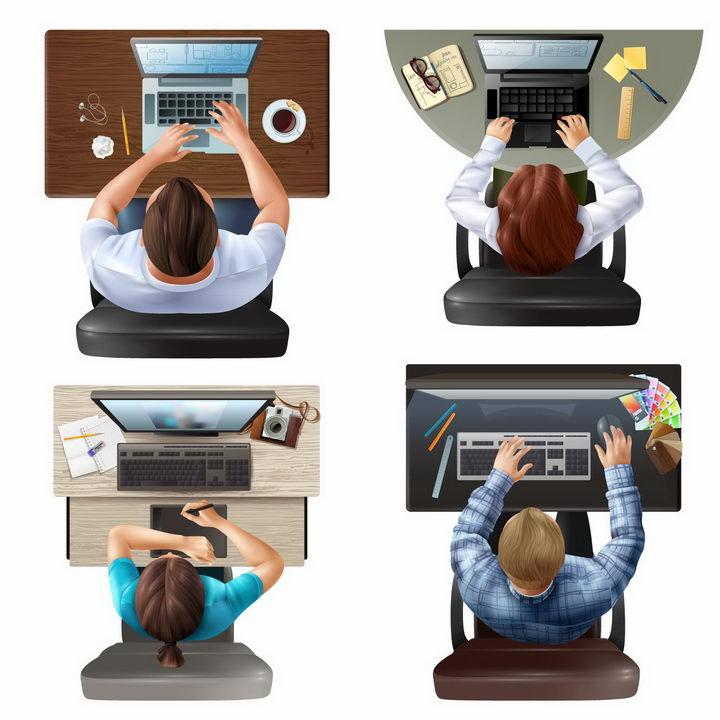4款俯视视角的坐在电脑桌前操作电脑的职场人士png图片免抠矢量素材 商务职场-第1张