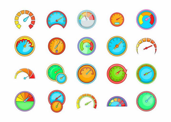 20款卡通汽车仪表盘速度表图标png图片免抠矢量素材 图标-第1张