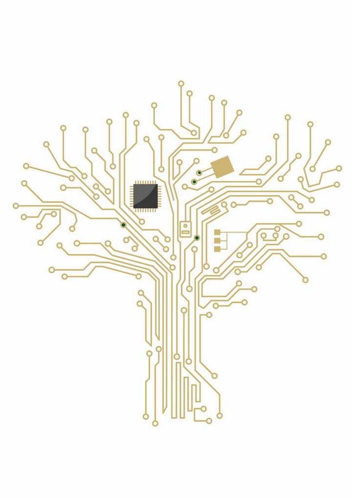 金色的电路组成的大树png图片免抠矢量素材