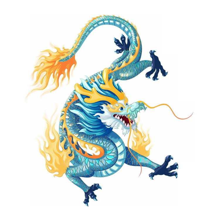 威武的蓝色中国龙传统神兽青龙png图片免抠素材