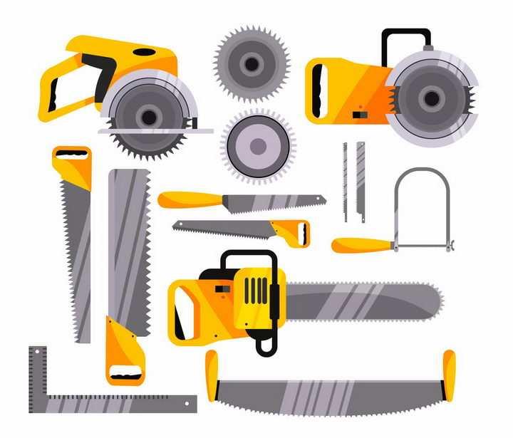 各种电链锯伐木锯电锯木材砍伐锯子工具png图片免抠矢量素材