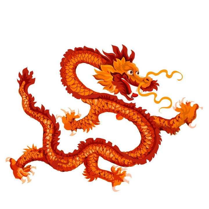 红色的中国龙传统神兽png图片免抠素材