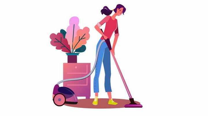 扁平插画正在用吸尘器拖地的女孩png图片免抠矢量素材