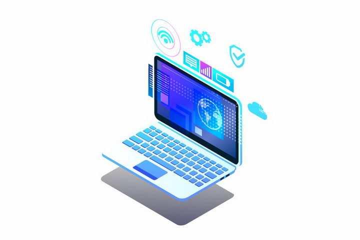 3D立体笔记本电脑和屏幕上的超炫数据图表png图片免抠矢量素材