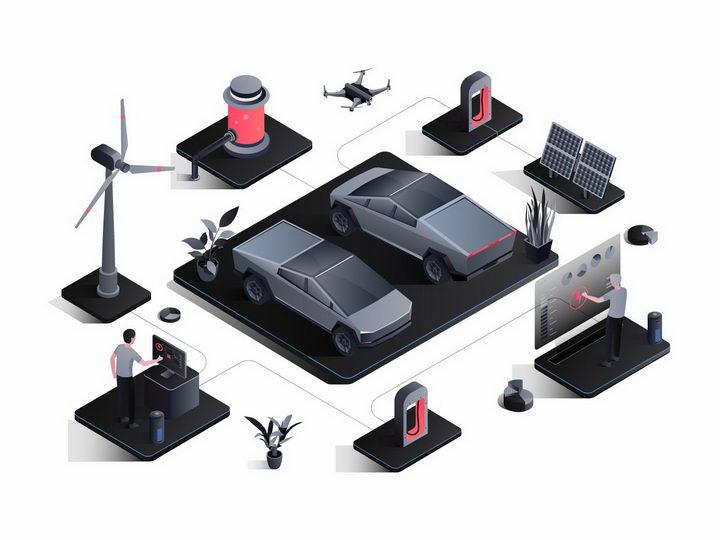 黑色风格的电动汽车和太阳能风力发电等绿色能源充电桩png图片免抠矢量素材 交通运输-第1张