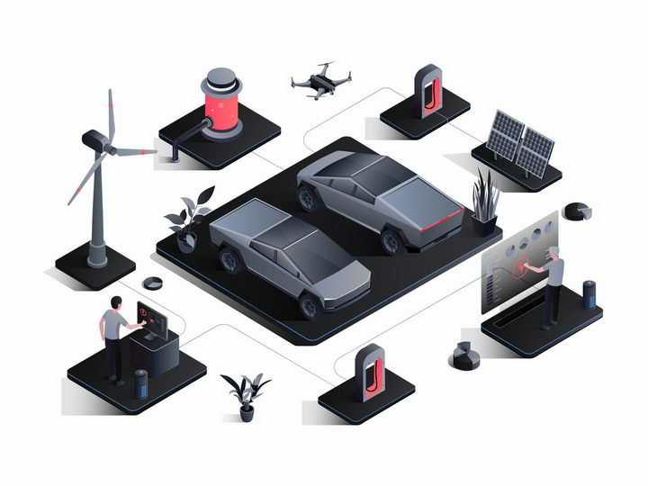 黑色风格的电动汽车和太阳能风力发电等绿色能源充电桩png图片免抠矢量素材