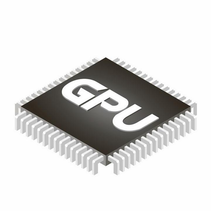 2.5D立体风格显卡芯片GPU处理器png图片免抠矢量素材 IT科技-第1张