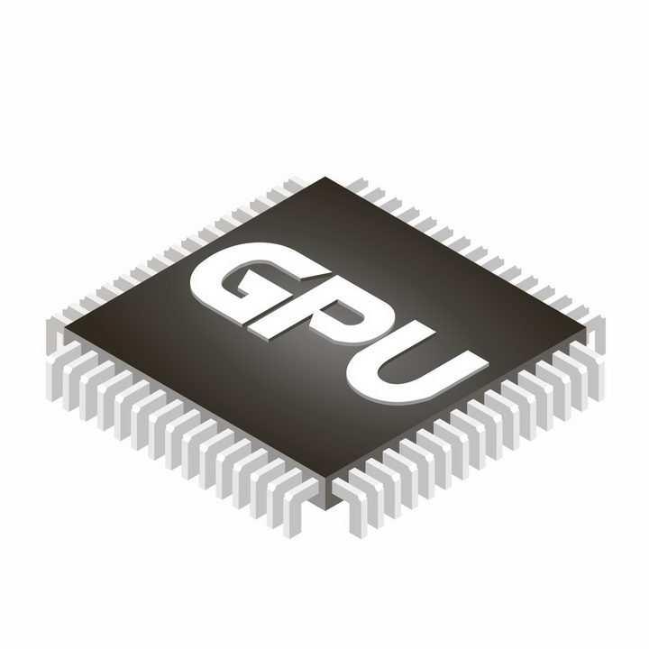 2.5D立体风格显卡芯片GPU处理器png图片免抠矢量素材
