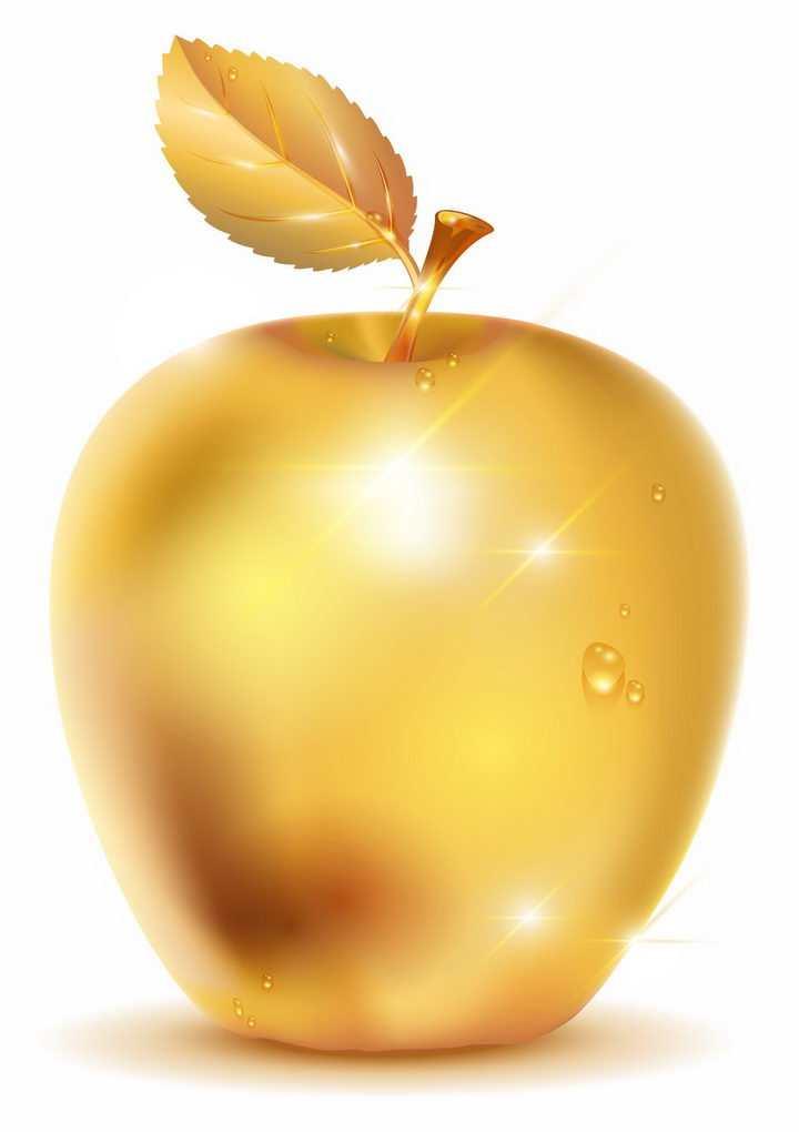闪闪发光的金色苹果带有露珠的金苹果png图片免抠矢量素材