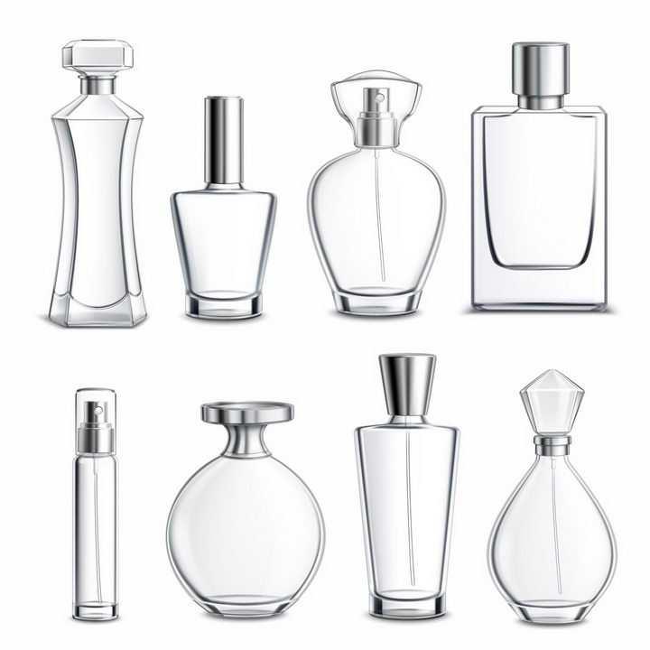 8款半透明化妆品香水瓶玻璃瓶png图片免抠eps矢量素材