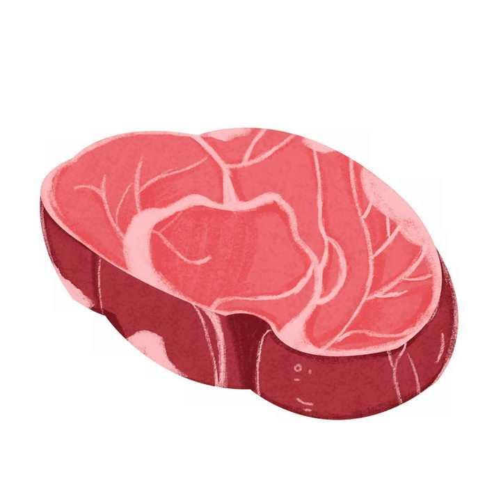 手绘风格一块生牛肉牛排png图片免抠素材