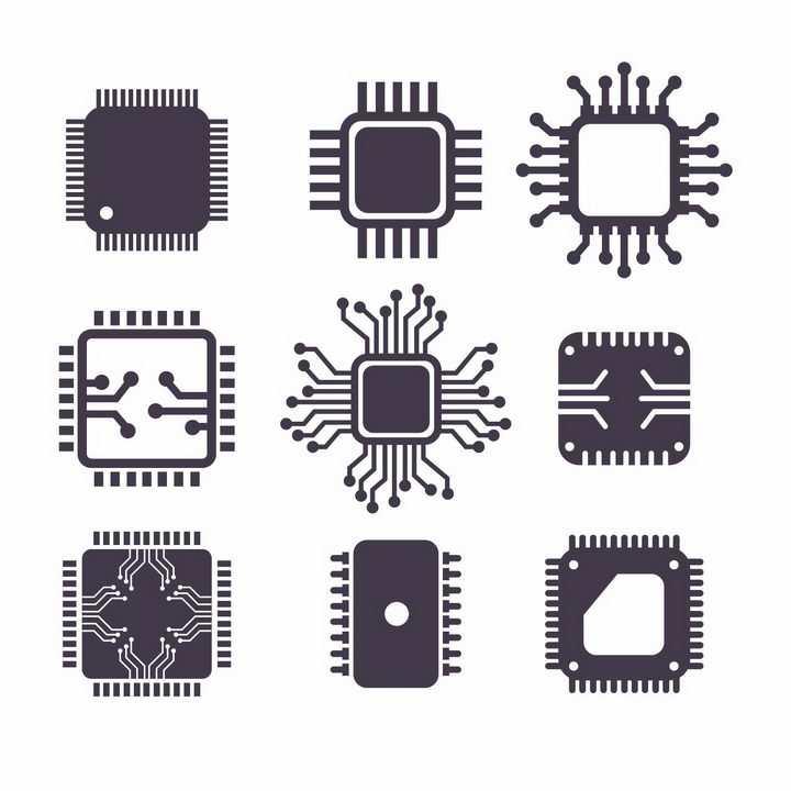 9款黑白色的电脑处理器CPU图标png图片免抠矢量素材