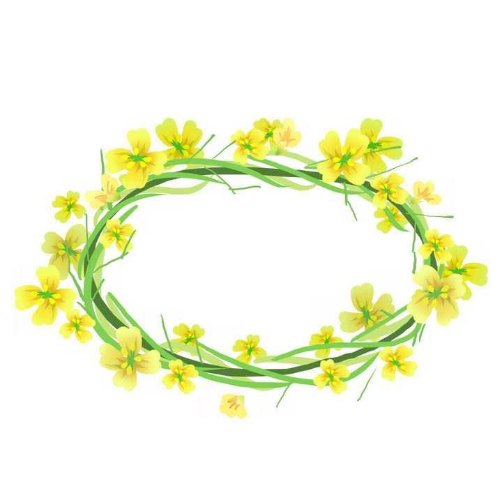 黄色油菜花编织的花环png图片免抠素材