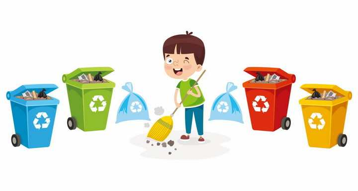 卡通男孩正在扫地和垃圾分类手抄报png图片免抠eps矢量素材