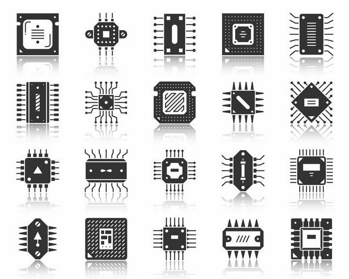 20款黑白色的集成电路图标png图片免抠矢量素材 图标-第1张