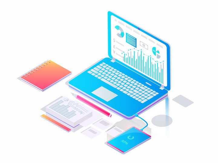 3D立体风格蓝色笔记本电脑和智能手机png图片免抠矢量素材
