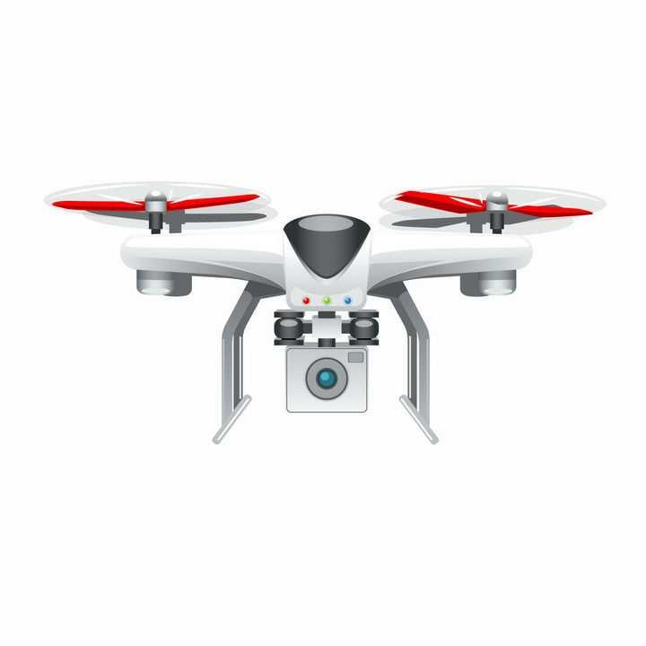 白色带摄像头的四轴飞行器无人机航拍小飞机png图片免抠矢量素材