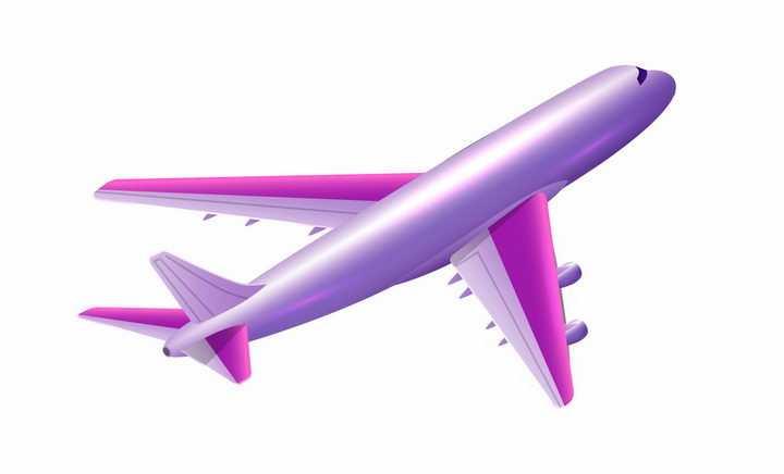 紫色金属光泽的大型客机飞行中的飞机png图片免抠矢量素材