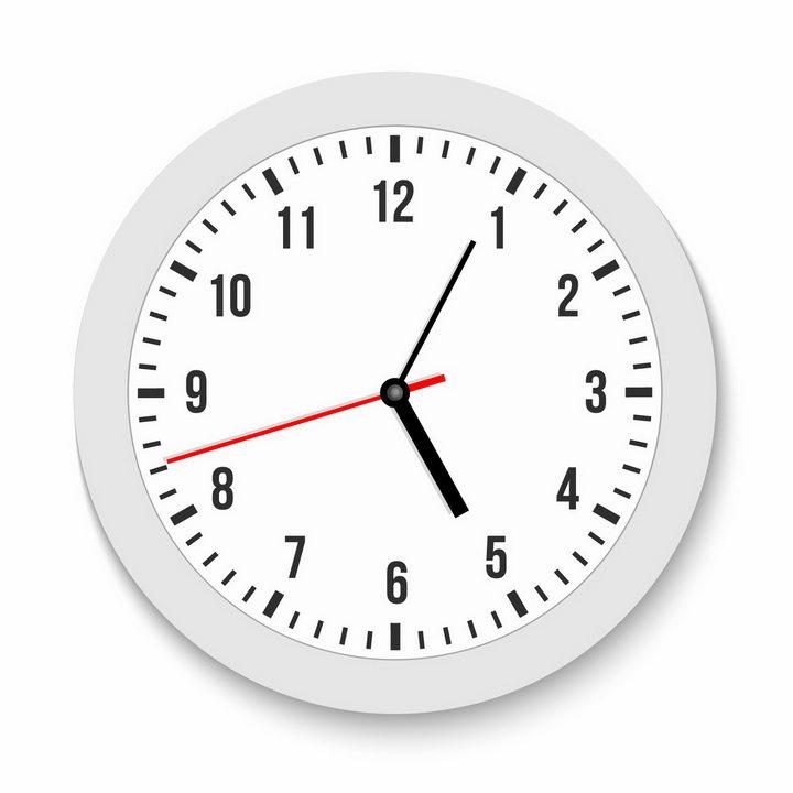 逼真的白色表盘时钟挂钟png图片免抠矢量素材 生活素材-第1张