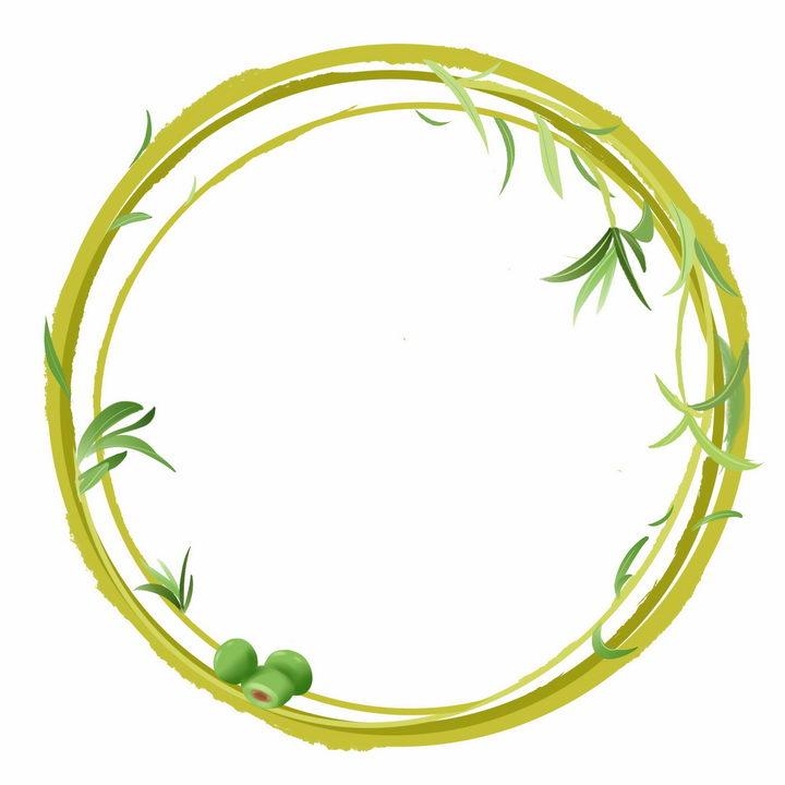 绿色藤蔓树叶组成的圆形文本框边框png图片免抠素材 边框纹理-第1张