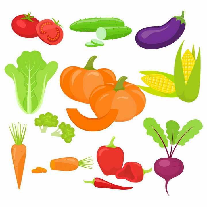 手绘风格西红柿黄瓜茄子生菜南瓜玉米西兰花胡萝卜辣椒等蔬菜png图片免抠矢量素材