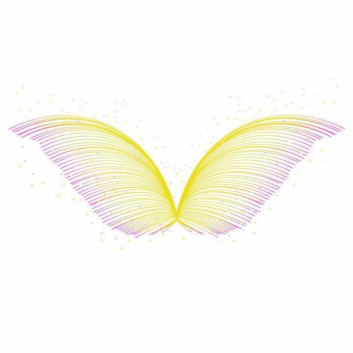 彩色线条组成的翅膀图案png图片免抠ai矢量素材