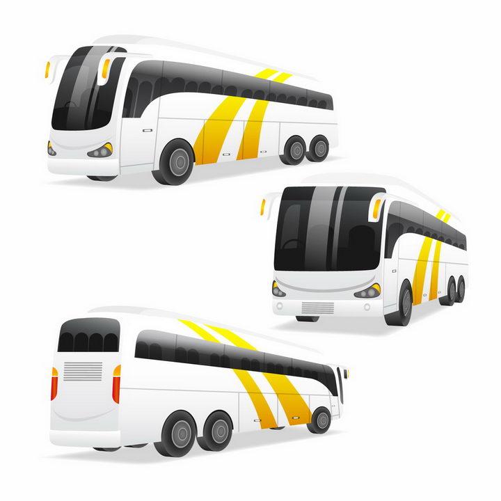 3种不同角度的长途客车大巴汽车png图片免抠矢量素材 交通运输-第1张