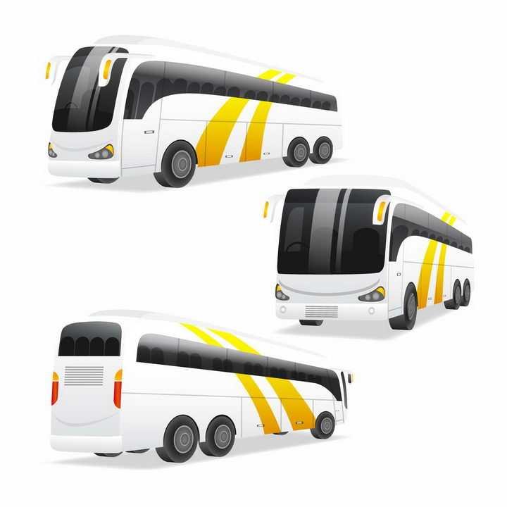 3种不同角度的长途客车大巴汽车png图片免抠矢量素材