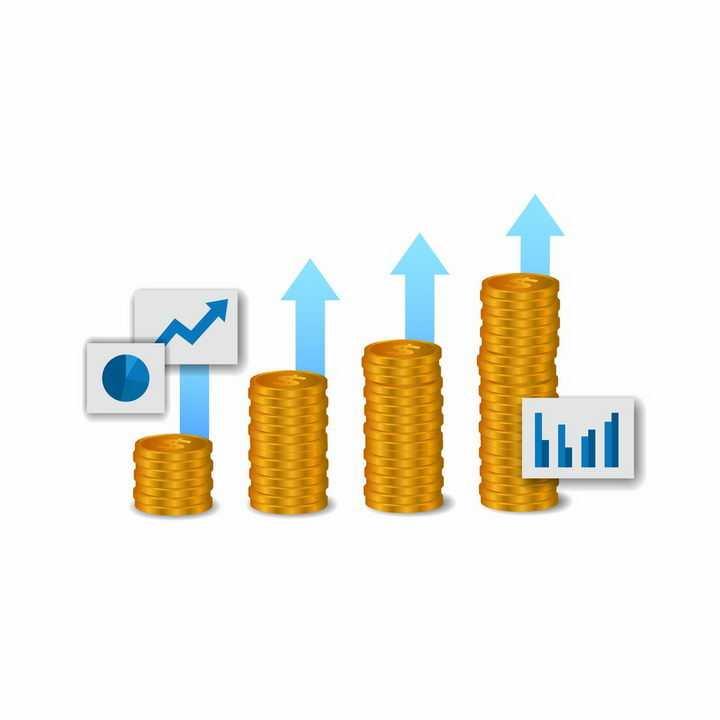 叠加在一起的金币和背后的蓝色增长箭头象征了投资回报png图片免抠矢量素材