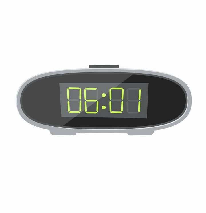 椭圆形LED电子闹钟智能闹钟png图片免抠矢量素材