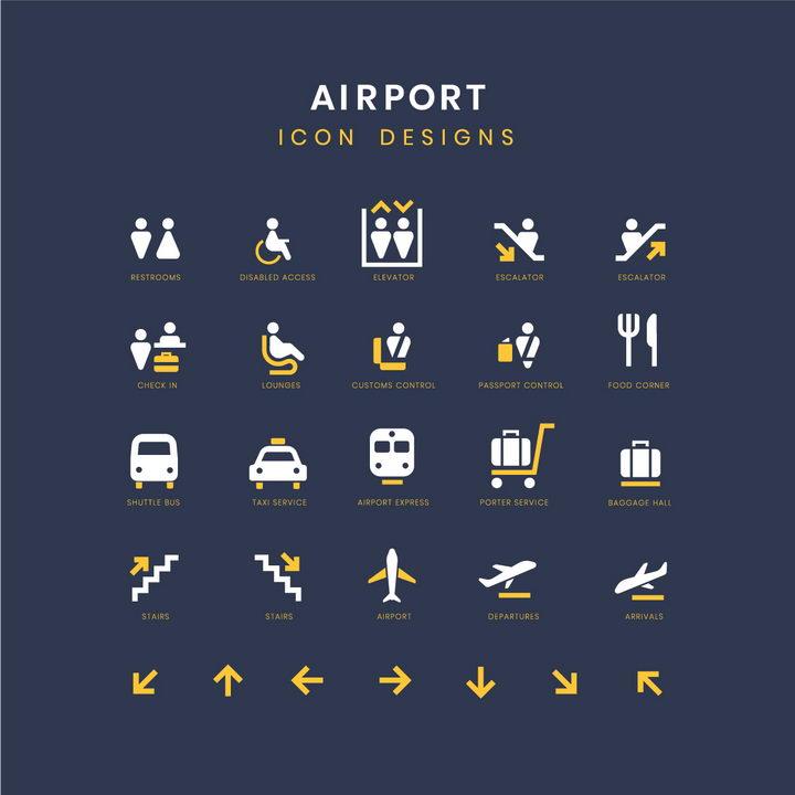 黄色白色公共厕所候机室餐饮行李托运地铁登机口等机场服务标志指示牌png图片免抠矢量素材 交通运输-第1张