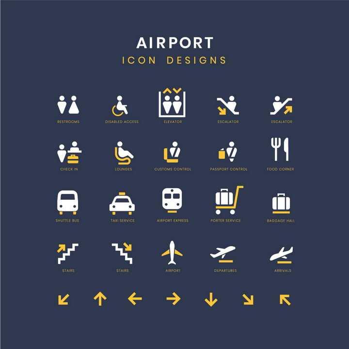 黄色白色公共厕所候机室餐饮行李托运地铁登机口等机场服务标志指示牌png图片免抠矢量素材