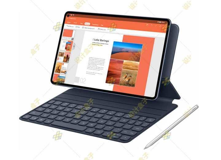 带键盘和手写笔的华为MatePad Pro平板电脑png图片免抠素材